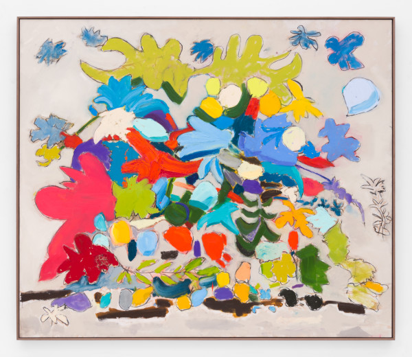 Marc Horowitz, Wandering aimlessly between the trees, I stepped in a puddle of melted snow, 2017  Oil stick, oil, charcoal, acrylic spray paint on canvas in artist's frame72 × 84 inches (183 × 213.5 cm)