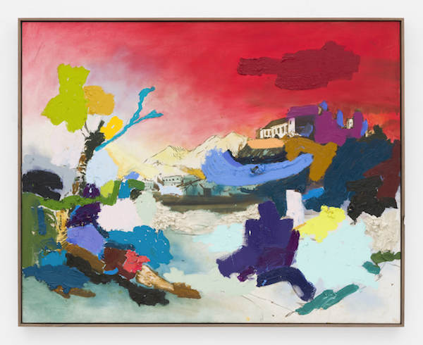 Marc Horowitz, The trees are bent over from the wind, it has become cooler, and something is finally escaping, breaking through., 2017  Oil stick, oil, charcoal, acrylic spray paint on canvas in artist's frame48 × 60 inches (122 × 152.5 cm)