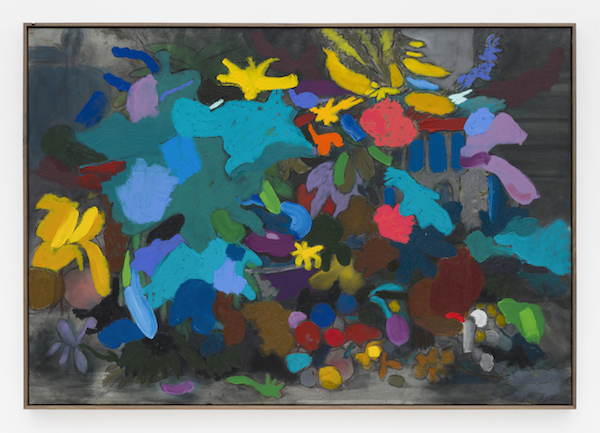 Marc Horowitz, Well that's an inappropriate idea at the moment., 2017 Oil stick, oil, watercolor, liquid vinyl, charcoal, acrylic spray paint on canvas in artist's frame45 × 65 inches (114.5 × 165 cm)