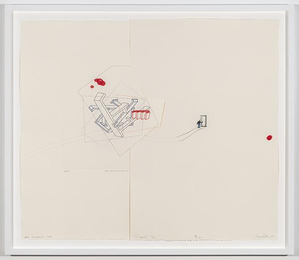 Deshabitaciones/La Puerta, 2011 Aguafuerta, figurin y lapiz sobre papel 22 ½ × 26 ½ inches (57.15 × 67.31 cm)