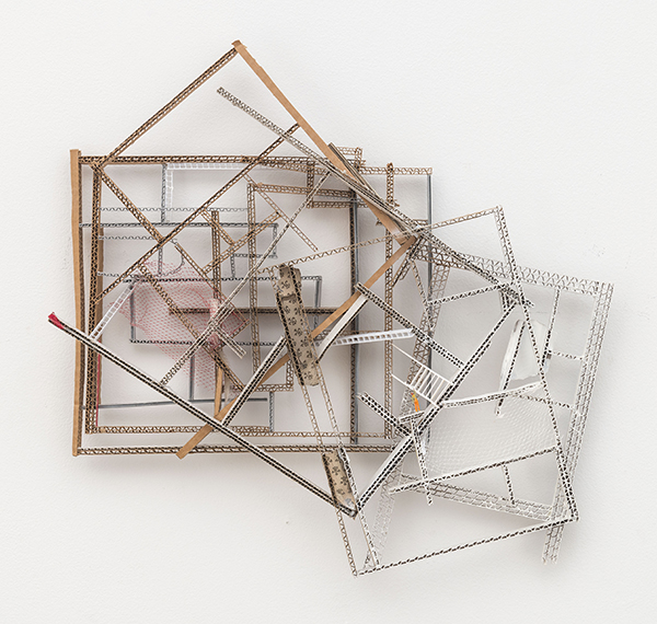 To Paint White, 2012 Cardboard, paint, and figurine assemblage 18 × 21 × 3 inches (45.72 × 53.34 × 7.62 cm)
