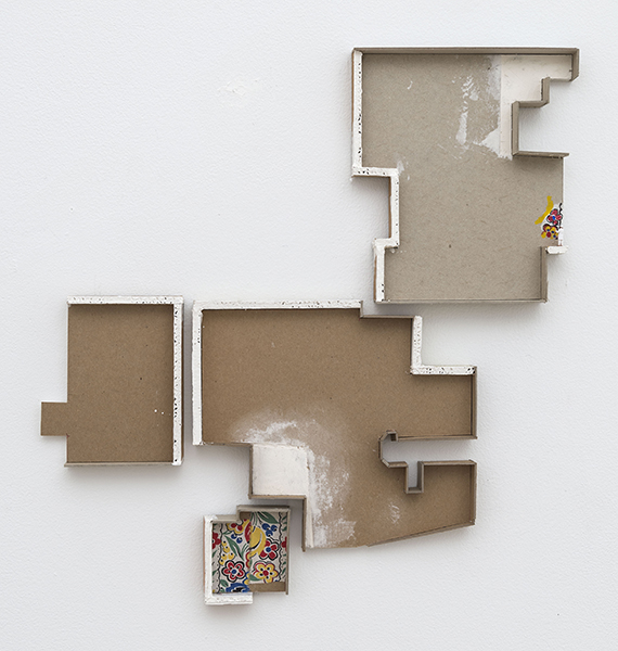 The Copy on the Edge, 2017 cardboard, plaster, fabric, acrylic paint, and figurine 20 ½ × 21 inches (52.07 × 53.34 cm)