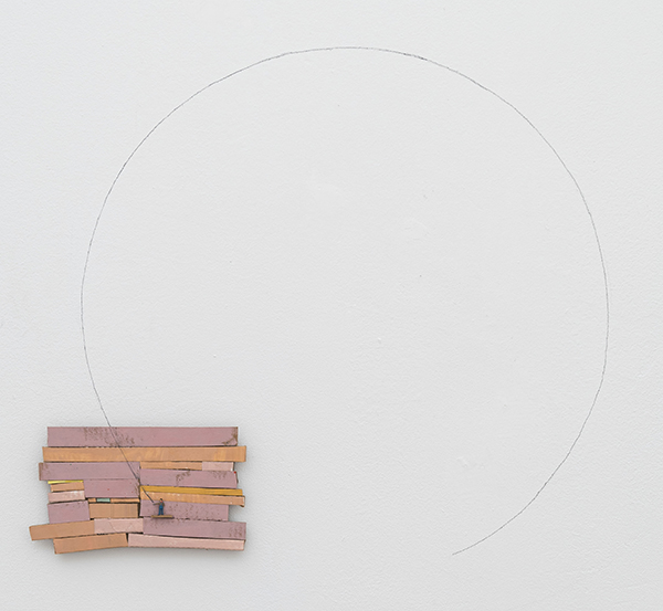 Circle, 2017 graphite, painted cardboard, and metal figurine on wall 33 × 33 inches (83.82 × 83.82 cm)