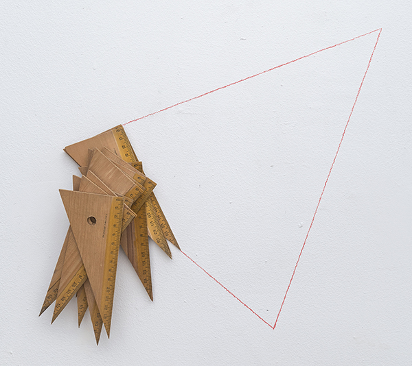 The Problem, 2017 wooden and red pencil on wall 13 × 14 × 2 inches (33.02 × 35.56 × 5.08 cm)