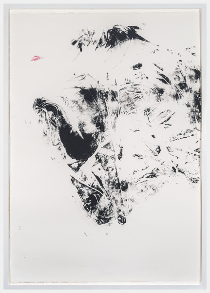 Aphrodite Désirée Navab, Metamorph 2, 2017Ink and lipstick on paper, 43 × 30 ½ inches (109.22 × 77.47 cm)