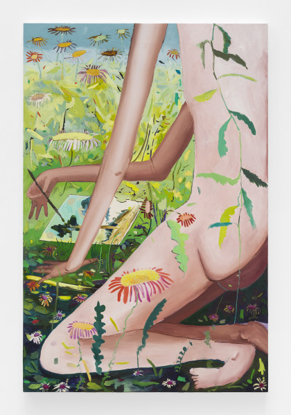 Jasmine Little, Drawing in a Meadow, 2017, Oil on canvas, 70.62 × 46 ¾ inches (179.37 × 118.75 cm)
