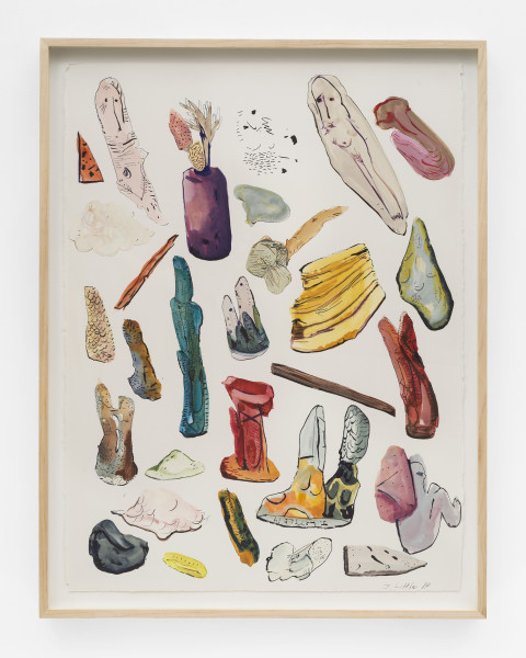 Jasmine Little, Object Inventory, 2014, Watercolor and ink on paper, 30 × 22 inches (76.20 × 55.88 cm)