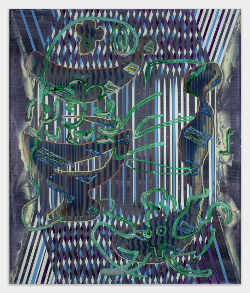 Darren Goins, 117r (poke garden), 2018, Acrylic, urethane on etched acrylic panel, 24 ½ × 20 ¼ inches (62.23 × 51.44 cm)