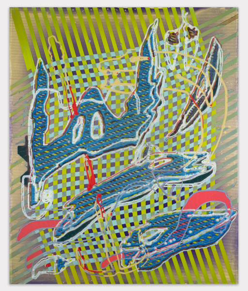 Darren Goins, 119r (pier logon), 2018, Acrylic, urethane on etched acrylic panel, 24 ½ × 20 ¼ inches (62.23 × 51.44 cm)