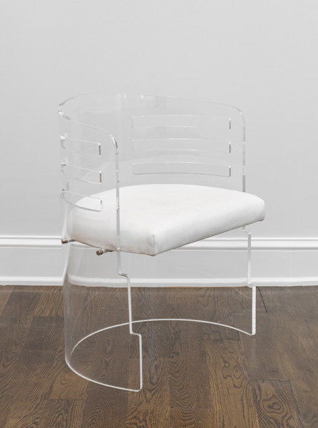 Charles Hollis Jones, Louver Chair, 1977Lucite (Acrylic), upholstery, 29 × 16 ½ × 20 inches (73.66 × 41.91 × 50.80 cm)