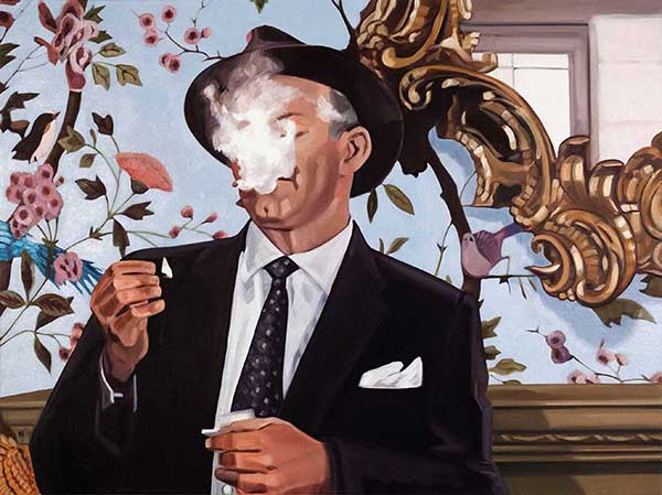 Kristen Thiele, Smoke & Mirrors II, 2018Oil on Canvas, 26 × 34 ½ inches (66.04 × 87.63 cm)