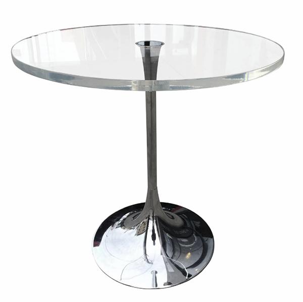 Charles Hollis Jones, O Bugle Base Accessory Table, O Lineca. 1965Lucite (acrylic), polished nickel, 20 × 19 ½ inches (50.80 × 49.53 cm)