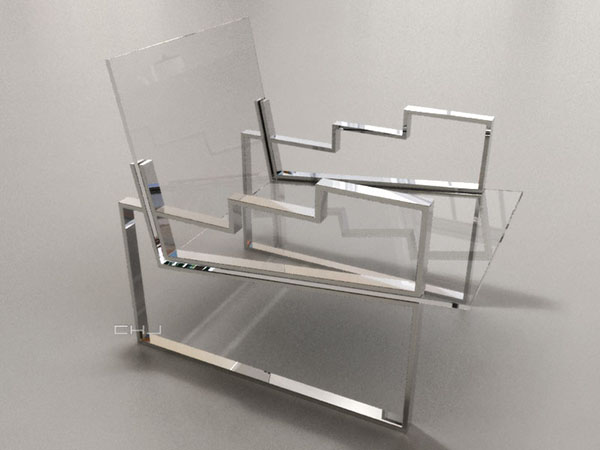 Charles Hollis Jones, Belzer Chair, Tumbling Block Line, 2014Lucite (acrylic), polished nickel, and upholstery, 28 × 21 ¼ × 27 ½ inches (71.12 × 53.98 × 69.85 cm)
