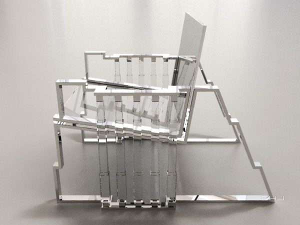Bolt Chair, Tumbling Block Line side view