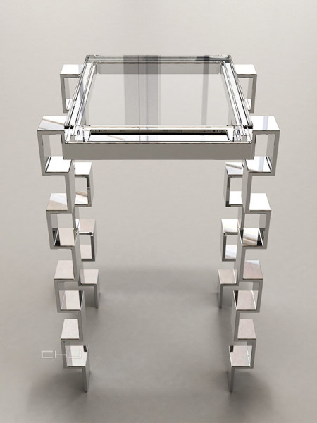 Charles Hollis Jones, Link Accessory Table, Tumbling Block Line, 2014Lucite (acrylic), polished nickel , 20 × 14 × 12 inches (50.80 × 35.56 × 30.48 cm)