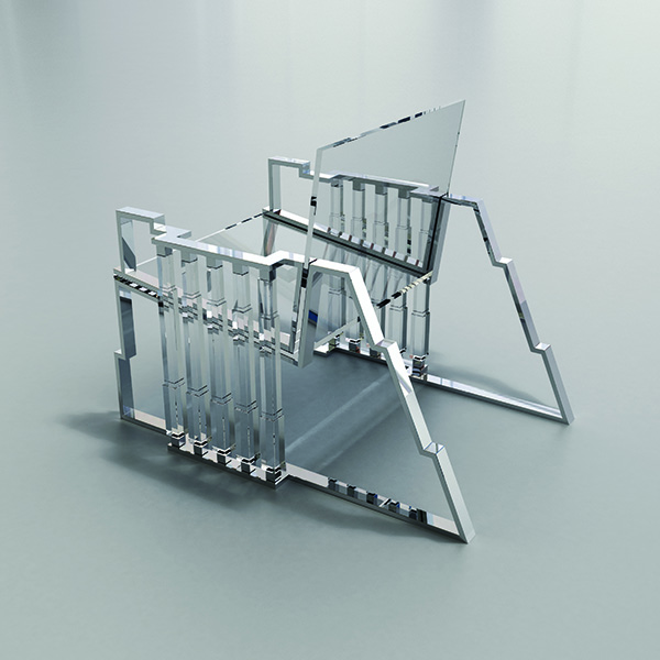 Charles Hollis Jones, Bolt Chair, Tumbling Block Line, 2014Lucite (acrylic), polished nickel, 27 × 26 × 34 inches (68.58 × 66.04 × 86.36 cm)