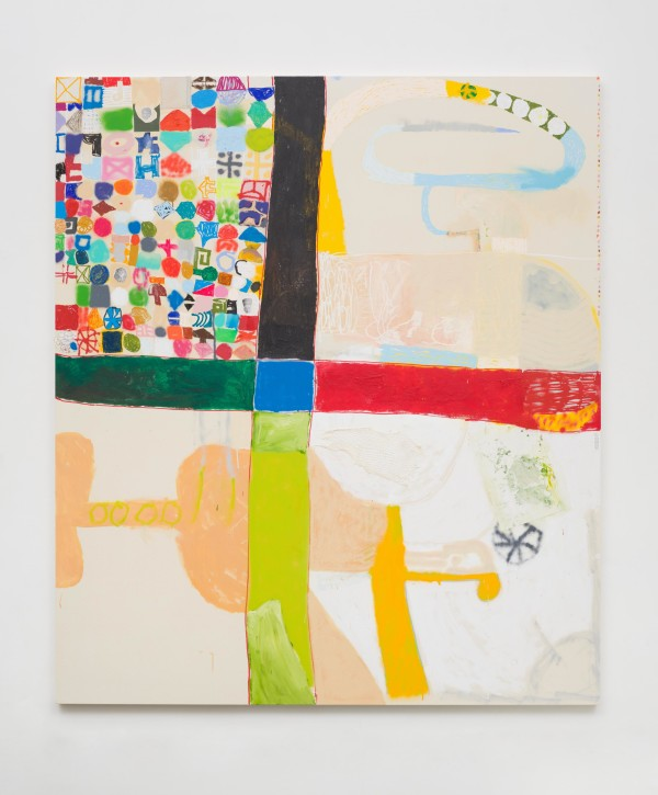 Michael Swaney, Gift, 2017Acrylic, spray paint collage and oil pastel on canvas 76 × 66 1/4 × 1 1/2 inches (193.04 × 168.28 × 3.81 cm)