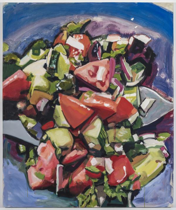 Walter Robinson, Joy's Salad, 2018Acrylic on canvas, 72 × 60 inches (182.88 × 152.40 cm)